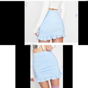 Sugarthrillz baby blue Am I selfish ruffle skirt